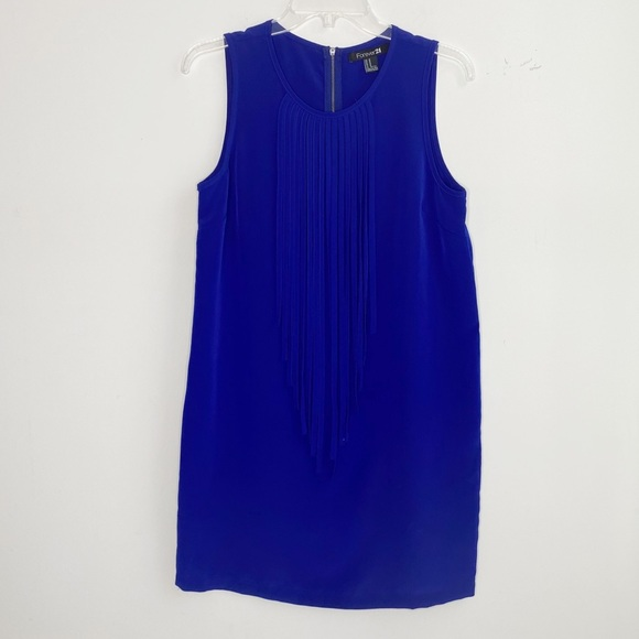 Forever 21 Dresses & Skirts - Forever21 blue dress with fringe size M